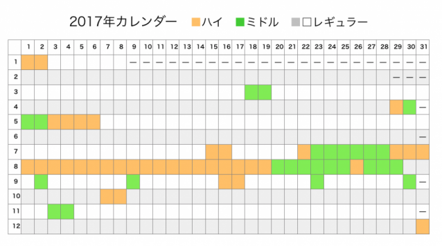 2017年カレンダー2